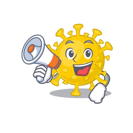 An icon of corona virus diagnosis holding a megaphone. Vector illustration Illustration