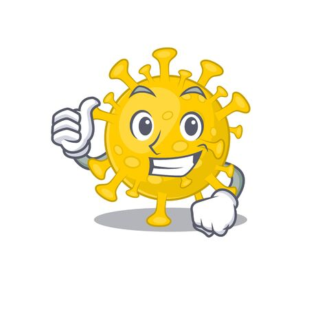 Cool corona virus diagnosis cartoon design style making Thumbs up gesture. Vector illustration