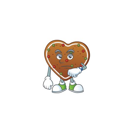 A cartoon icon of gingerbread love with waiting gesture
