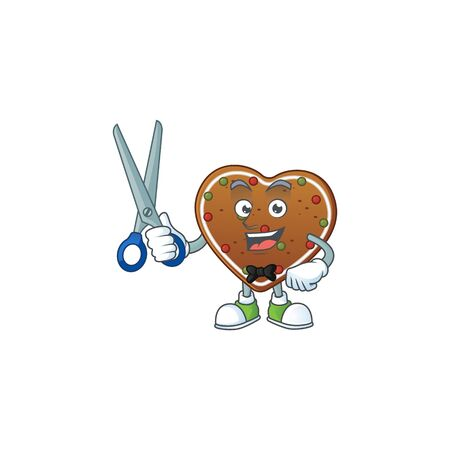 Cool Barber gingerbread love mascot design style