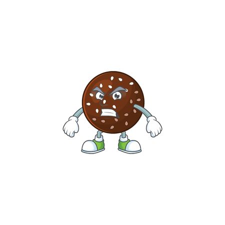 Charming chokladboll mascot design style waving hand