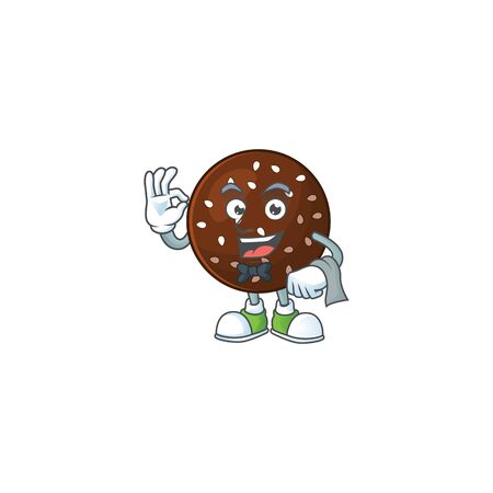 A character of chokladboll waiter working in the restaurant. Vector illustration
