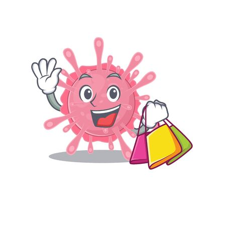 Happy rich corona virus germ mascot design waving and holding Shopping bag. Vector illustration