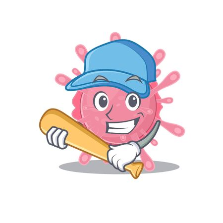 Mascot design style of corona virus germ with baseball stick. Vector illustration