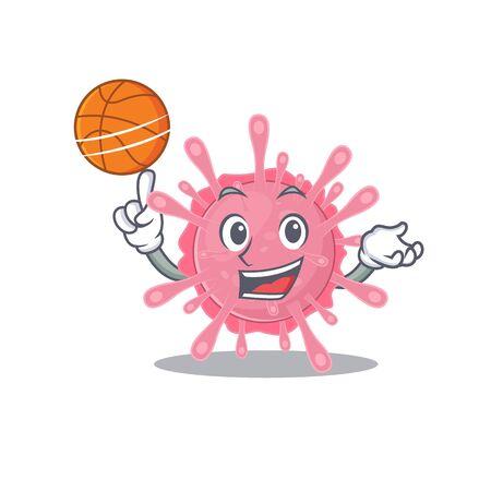 A sporty corona virus germ cartoon mascot design playing basketball. Vector illustration