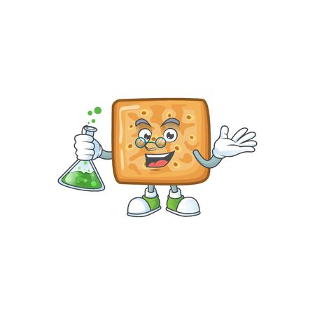 Crackers brainy Professor Cartoon design grasp a glass tube 向量圖像