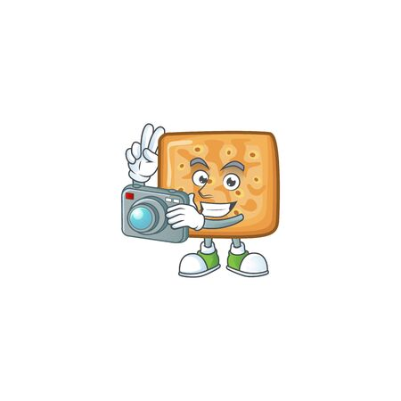 Crackers mascot design as a professional photographer with a camera