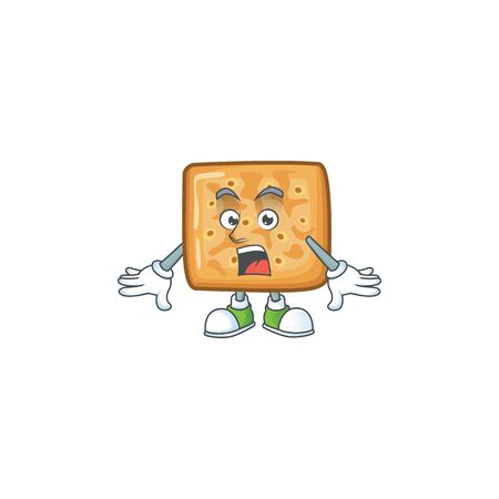 A mascot design of crackers making a surprised gesture Illusztráció