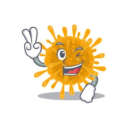 Cheerful coronaviruses mascot design with two fingers. Vector illustration