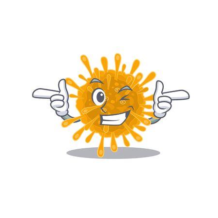 Smiley coronaviruses cartoon design style showing wink eye 向量圖像