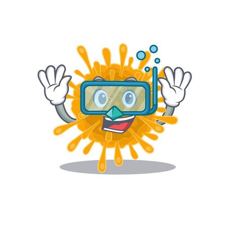 A cartoon picture featuring coronaviruses wearing Diving glasses