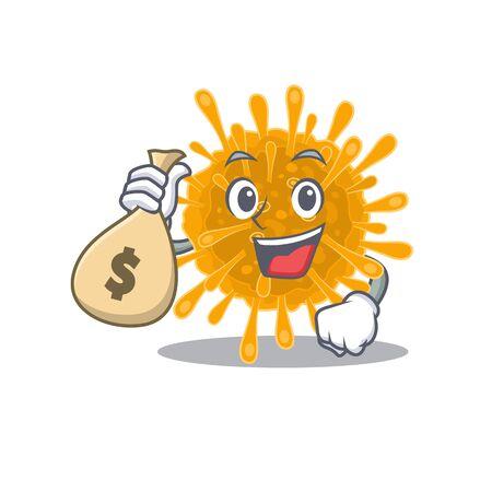 Smiley rich coronaviruses cartoon character bring money bags. Vector illustration