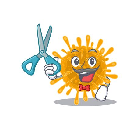 Cool Barber coronaviruses mascot in design style