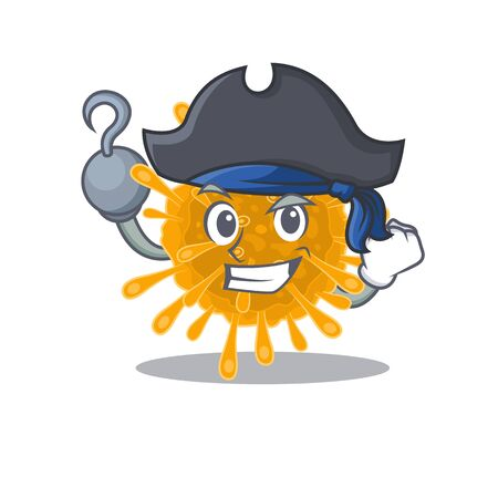 Cool coronaviruses in one hand Pirate cartoon design style with hat