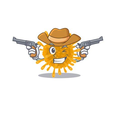 Funny coronaviruses as a cowboy cartoon character holding guns