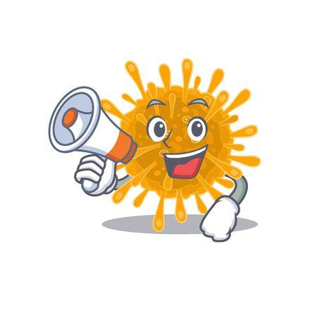 An icon of coronaviruses holding a megaphone. Vector illustration