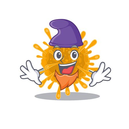 Cute and funny coronaviruses cartoon character dressed as an Elf 向量圖像