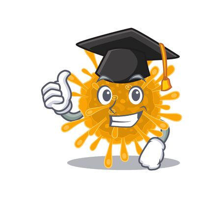 A picture of coronaviruses with black hat for graduation ceremony