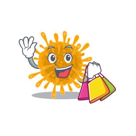 Happy rich coronaviruses mascot design waving and holding Shopping bag