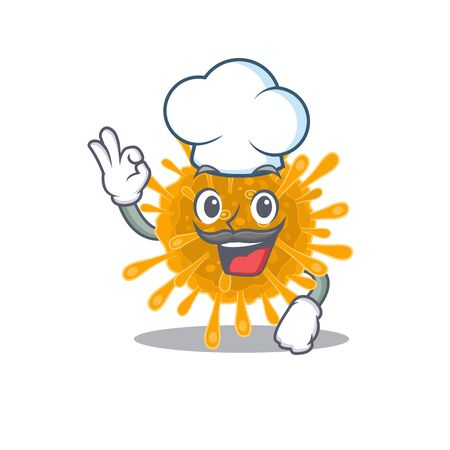 Cute coronaviruses cartoon character wearing white chef hat. Vector illustration