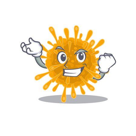 Coronaviruses cartoon character style with happy face
