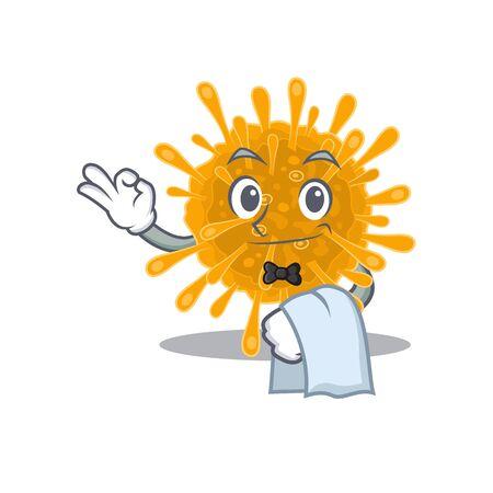 A design of coronaviruses cartoon character working as waiter 向量圖像