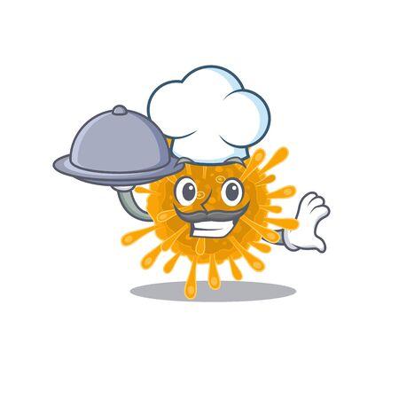 Coronaviruses as a chef cartoon character with food on tray