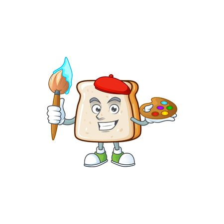 An artistic slice of bread artist cartoon design using a brush Иллюстрация