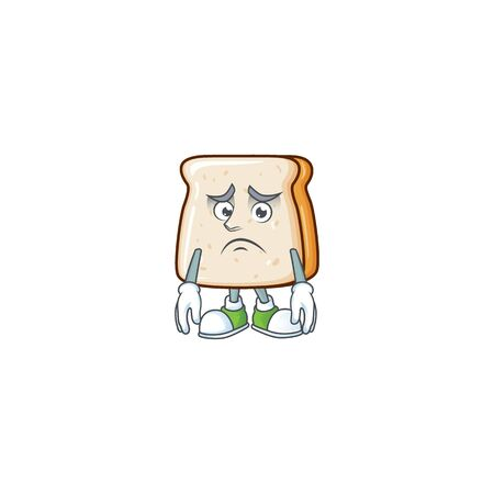 Slice of bread mascot design style with worried face. Vector illustration Ilustração