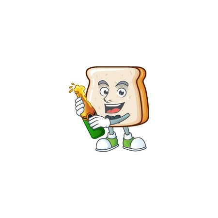 mascot cartoon design of slice of bread with bottle of beer Vettoriali