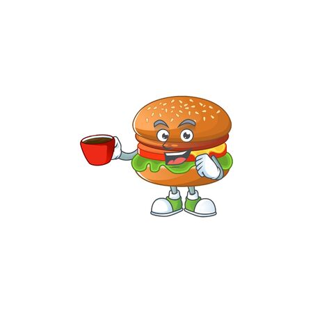 Hamburger mascot design style showing an Okay gesture