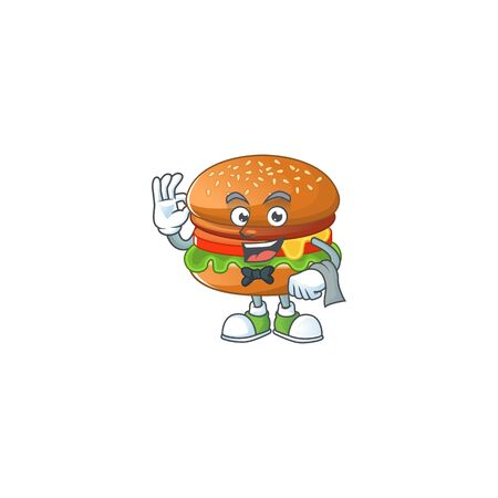 A character of hamburger waiter working in the restaurant
