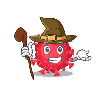 Cute and sneaky Witch coronavirus substance cartoon design style