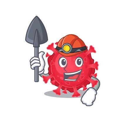 Cool miner worker of coronavirus substance cartoon character design Ilustração