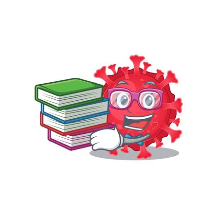A diligent student in coronavirus substance mascot design with book Ilustração