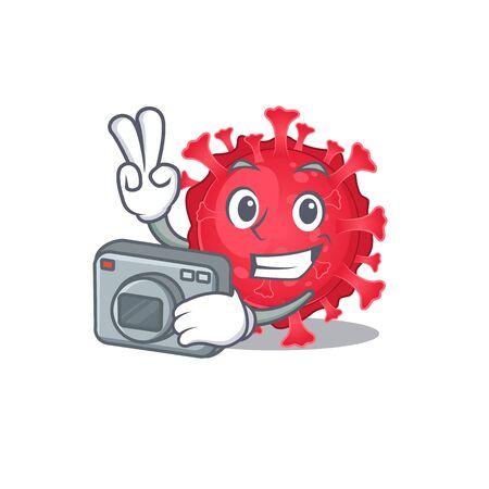 Coronavirus substance mascot design as a professional photographer with a camera
