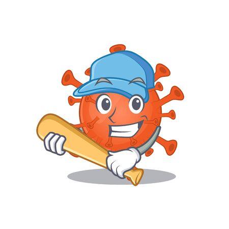 Mascot design style of deadly corona virus with baseball stick
