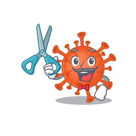 Cool Barber deadly corona virus mascot design style 向量圖像