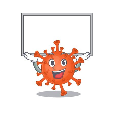 Happy cartoon character of deadly corona virus raised up board