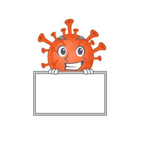 Smiley deadly corona virus cartoon character style bring board