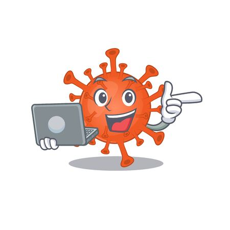 An icon of smart deadly corona virus working with laptop 向量圖像