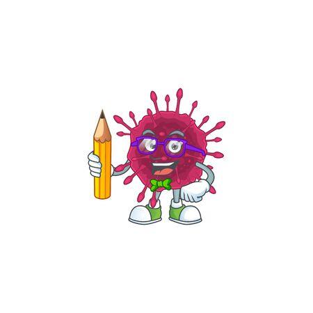 COVID19 clever student character using a pencil Ilustração