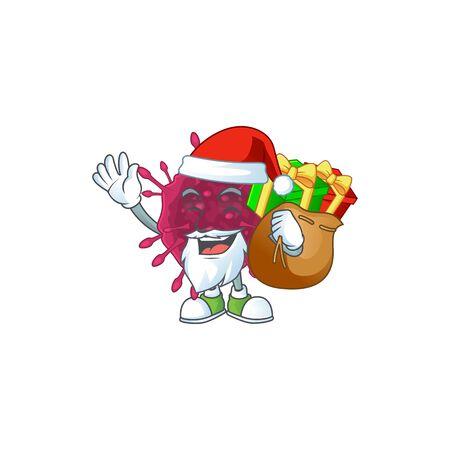 COVID19 Cartoon character of Santa with box of gift Illustration