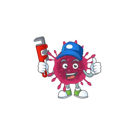 Smart Plumber worker of COVID19 cartoon character design