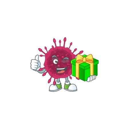 Cheerful COVID19 cartoon character holding a gift box