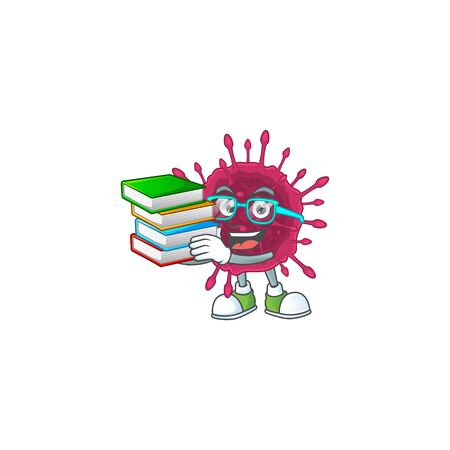 A hard-working student in COVID19 cartoon design with book