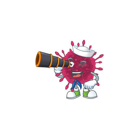 COVID19 in Sailor cartoon character design with binocular