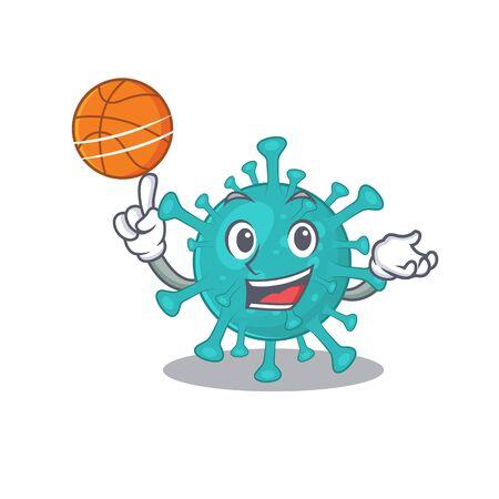 A sporty corona zygote virus cartoon mascot design playing basketball  イラスト・ベクター素材