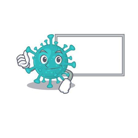 cute corona zygote virus cartoon character Thumbs up bring a white board