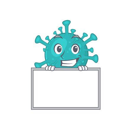 Smiley corona zygote virus cartoon character style bring board